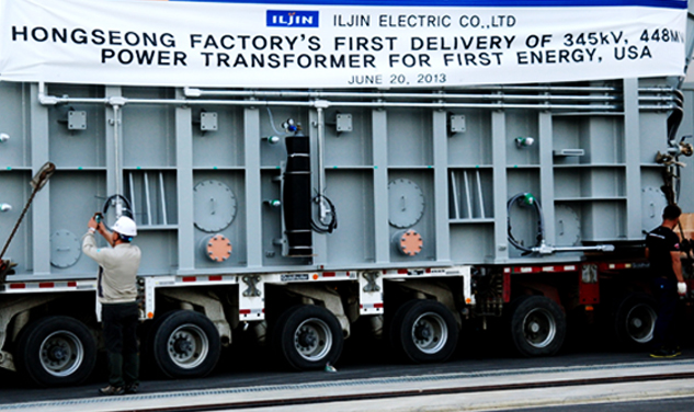 The inaugural consignment from ILJIN Electric's transformer factory in the Hongseong industrial complex (export to US)